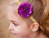 Light Plum Purple Satin & Gold Glitter Headband - Photo Prop -  Baby Infant Toddlers Girls Women Petite Flower