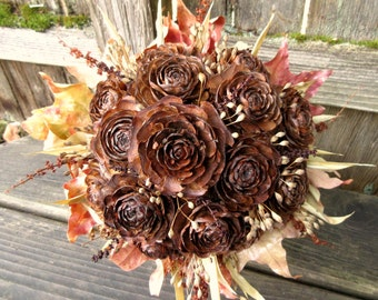 Dried Bouquet, Pink and Brown Wedding Bouquet- Fall Fields -Cedar Rose, Dock, Bamboo & Maple
