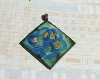 Vintage Copper and Enamel Pendant - Diagonal Square in Blues and Greens-  Handmade - 1960s