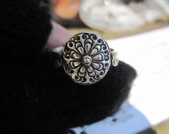 Flower Ring Sterling Silver Size 7 Handcrafted