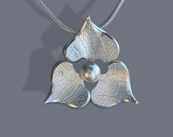 Hydrangea Pendant, Silver Pendant, Sterling Silver Bridal Jewellery, Handmade Necklace.