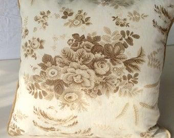 Tan Floral Toile Pillow Cover, 19 x 19, Designer throw pillows