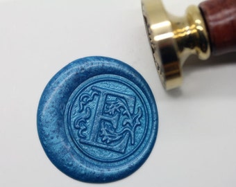"S1147 Alphabet Letter "" E "" Wax Seal Stamp , Sealing wax stamp, wax stamp, sealing stamp Flower Sytle"