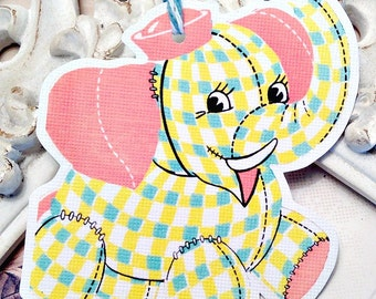 Patchwork Elephant Gift Tags - Set of 6 - Baby Gift Tags-Elephant Baby Shower-Baby Favor Tags-Treat Tags-Birthday Gift Tags-Party Favor Tags