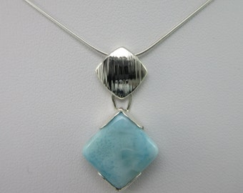 Sterling Silver Larimar Necklace Pendant - SS c6194NP