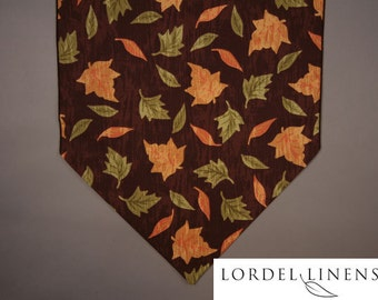 "Fall Leaves Table Runner on Brown Wood Look Background, 36"" Table Runner"