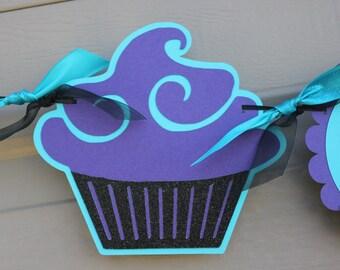 Cupcake Happy Birthday Banner - Teal Birthday Banner - Purple Birthday Banner - Happy Birthday Banner