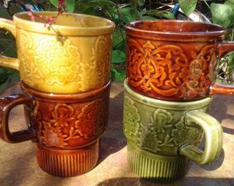 Retro Fall Colors Coffee Mugs