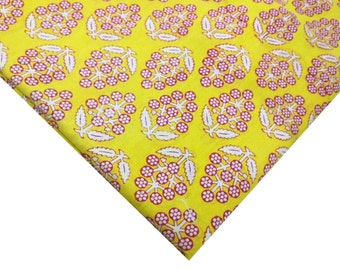 Soft Cotton Fabric - Block Printed Cotton Fabric - Yellow and Pink Fabric - Floral Print Fabric by the Yard