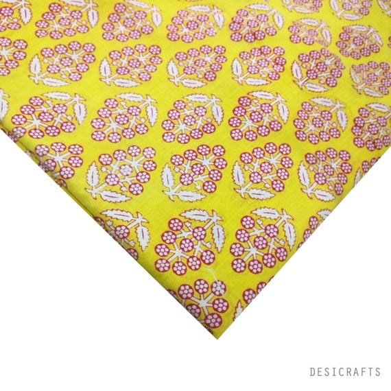 Soft cotton fabric block printed cotton fabric yellow and