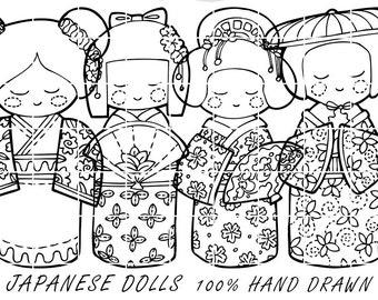 Japanese Doll Hand Drawn Vector, Cute Kawaii Kokeshi Digital Clipart Vectors, Character Design Illustration by Nedti