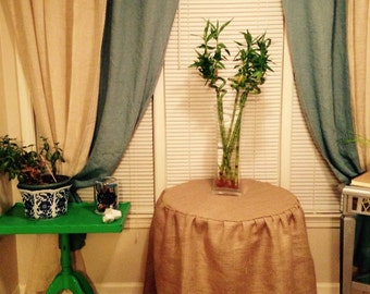 Round end table , night stand burlap skirt .