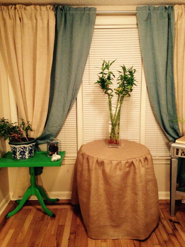 Round End Table Night Stand Burlap Skirt