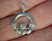 Celtic Claddagh pendant.  Solid Argentium® Sterling Silver Pendant *8100004