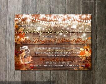 Rustic Fall Wedding Reception Invitation Rustic Party Invitation Autumn Wedding DIY Wedding Invite