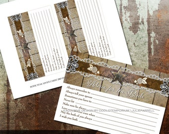 Rustic Lace and Metal Star Bridal Advice Cards DIY Printable Rustic CardsTexas Star Country Rustic Advice for the Bride Cards Bridal Shower