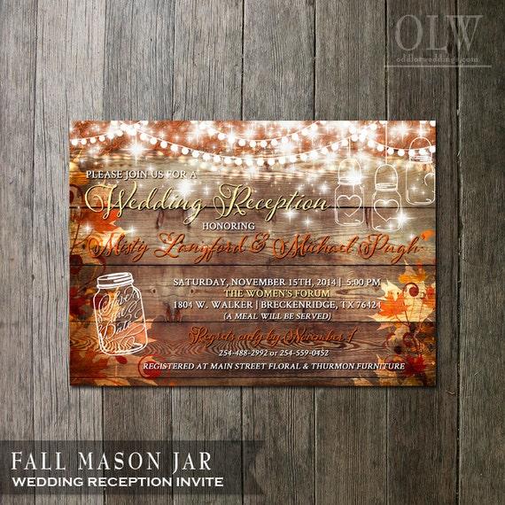 Rustic Fall Wedding Reception Invitation Rustic Party