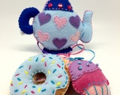 Tea time with donuts and cupcakes mobile, handmade in felt, nursery and kids room decor