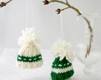 2 Green White Knitted Miniature Hats - Knitted Tiny Caps- Doll Hats, Small Pet- Holiday Ornaments