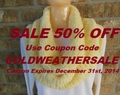"Infinity Cowl Handmade Fluffy Chenille Scarf Neckwrap in ""Porcelain"" Creamy Ivory"