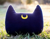 Sailor Moon Luna Inspired Cat Head Silhouette Decorative Fleece Pillow - MADE TO ORDER