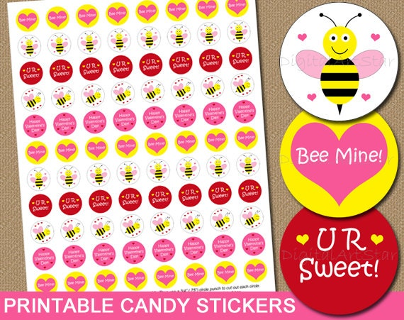 Valentines Day Candy Labels Printable Candy Stickers DIY