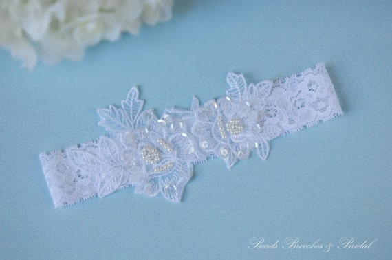 Garter,Wedding Garter,White Lace Gorgeous Rose-Pearl Applique,Pearls and  Sequins Embroidered Flower Lace Wedding Garter,Bridal Accessory