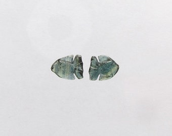 Natural Blue Green Sapphire, Unheated, Carved Fish, Lot (2) of 5.30 carats
