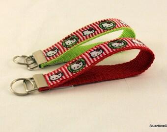 Hello Kitty Christmas Key Fob Wristlet - Pick your color
