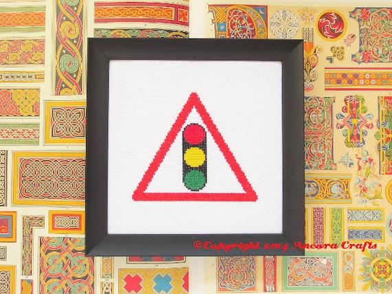 Stop Light Cross Stitch Pattern Road Sign PDF