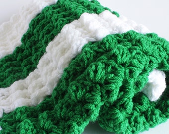 Green and white, Handmade crochet baby layette / gift set.  Glasgow Celtic / Christening / shower /layette /new baby gift