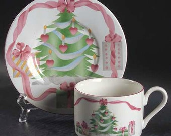 "CHRISTMAS CUP & SAUCER Vintage Sango ""Home For Christmas"" Pattern 4829 Christmas Tree Pink Ribbon Bow Pink Hearts Christmas Presents"