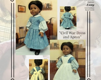 "PDF Pattern KDD12 ""Civil War Dress &Apron""- An Original KeepersDollyDuds Design, 18"" Doll Clothes Fits American Girl"