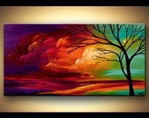 """Large Acrylic Colorful Landscape Painting Modern Turquoise Red Purple Tree Painting by Osnat - MADE-TO-ORDER - 48""""x24"""""""