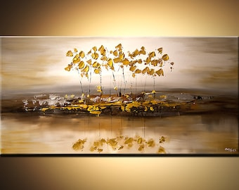 """Modern Abstract Landscape Painting Gold Silver Acrylic Tree Painting With Texture by Osnat - MADE-TO-ORDER - 48""""x24"""""""