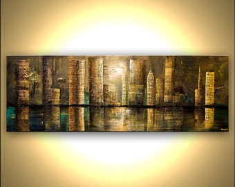 """Large ORIGINAL Abstract City Painting Modern Acrylic Mixed Media Abstract Downtown Painting The City by Osnat 72"""" x 24"""" Large"""