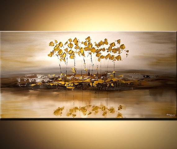 modern abstract landscape painting gold silver acrylic tree