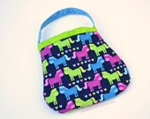 Handmade Quilted toddler purse. Little girl child handbag. gift present second third birthday ponies horses baby navy lime magenta blue tiny