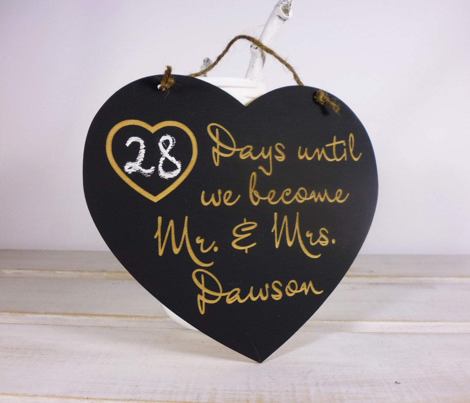 Wedding Countdown Gifts For Bride: Personalized Engagement Gift Prop Wedding Countdown Chalkboard