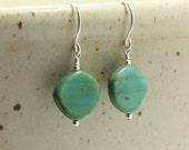 Blue Green Glass Bead Earrings, Dangle Earrings, Blue Earrings, Green Earrings, Sterling Silver Earrings