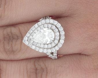 GIA 3.02 Ct Certified Pear Cut Pave Set Diamond Wedding Engagement Ring Platinum