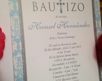 Cross Damask Baptism/Christening Invitation - Available in English or Spanish