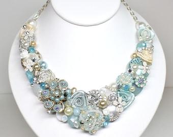 Aqua Bib Necklace- Aqua Blue Necklace- Blue Statement necklace- Sea Blue Bib-Aqua Blue Bridal Bib- Seaglass Bridal Necklace- Aqua Bib