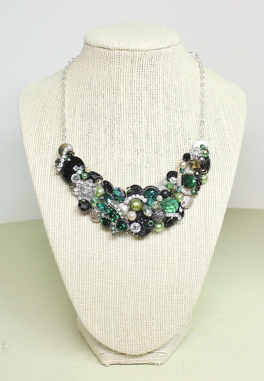 Emerald Green Bib Necklace Green Bridal Statement Necklace