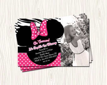 Custom Pink Zebra Print & Polka Dot Minne Mickey Mouse Birthday Party Invitation Card - Any Color