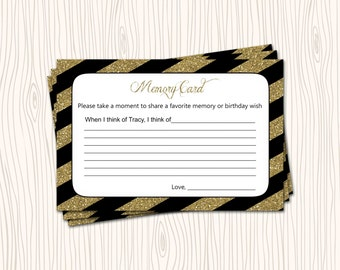 Memory Card Good Wish Wishes Gold Glitter Black Stripe Bridal Wedding Baby Shower Birthday Party - You Print
