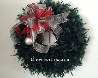Christmas Wreath with Bow, Green Christmas Wreath with Bow, Christmas Wreath, Christmas Door Decor, Christmas Door Hanger