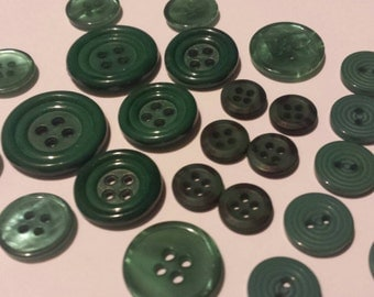 """7 Sets of Deep Green Sewing Buttons, Matching sets of various dark green sew through buttons, sizes 7/16"""" to 15/16"""", 26 buttons total"""