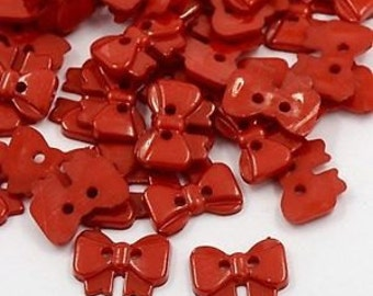 25 Red Bow Shaped Sewing Buttons, 2 holes, Flat back, Size 15mm, So cute!