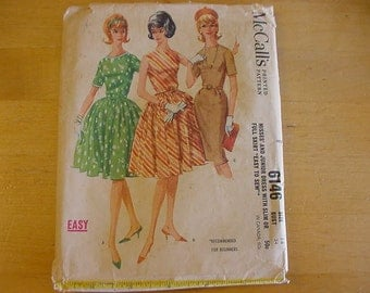 Vintage 1960s Easy McCalls Pattern 6146, Misses 1 Piece Dress with Full or Straight/Slim Skirt, Size 14, Bust 34
